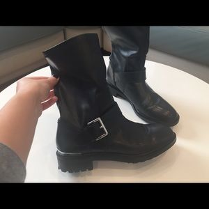 Zara motorcycle style leather boots